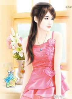 Cute Painting Girl in Pink Dress