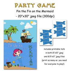 "Printable DIY Pin the Fin on the Mermaid / Pirate Party Game Poster 20"" x 30"". $12.50, via Etsy."
