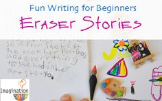 Fun writing activity for beginning writers: Use collectable erasers to inspire story ideas.