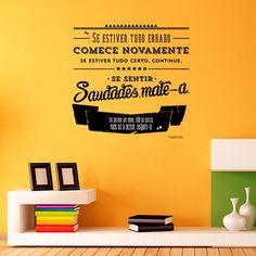 Vinil Autocolante com frase de Fernando Pessoa. Pode ser  aplicado em qualquer superfície lisa, desde paredes, móveis, vidros, etc. É a verdadeira  celebração da Literatura e da Cultura Portuguesa nas nossas casas e espaços .