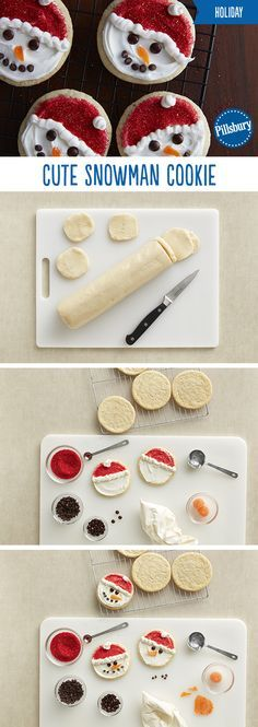 Bring the fun of building a snowman indoors with these kid-friendly holiday cookies. This holiday recipe is super easy and it doesn't get much cuter than sugar cookies dressed up as snowman! Kids can (Baking Cookies Easy) Christmas Deserts, Noel Christmas, Christmas Goodies, Holiday Desserts, Holiday Baking, Holiday Treats, Holiday Recipes, Holiday Parties, Christmas Candy