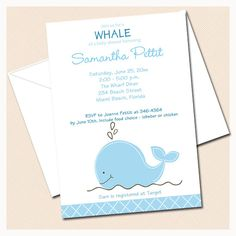 PRINTED Little Blue Whale Baby Shower Invitations, Includes personalization and Envelopes. $31.25, via Etsy.