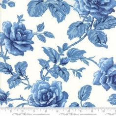 Blue White Rose Fabric - Regency Blues Off White Blue - Moda 42301 17 - 1 Yard Cut BTY - Blue Floral Fabric - Christopher Wilson-Tate by Jambearies on Etsy Floral Fabric, Blue Fabric, Tim Holtz Fabric, Christopher Wilson, French General Fabric, Tropical Wallpaper, Blue Roses Wallpaper, Wallpaper Warehouse, Cotton Quilting Fabric