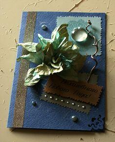 открытка с Новым Годом, цветок, стекло, декор, поздравление, голубые тона, скрап, ручная работа, подарки своими руками, пастельная бумага