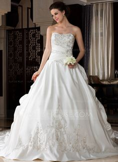 Wedding Dresses - $424.49 - Ball-Gown Sweetheart Royal Train Satin Wedding Dress With Embroidery Ruffle Beadwork (002033766) http://jjshouse.com/Ball-Gown-Sweetheart-Royal-Train-Satin-Wedding-Dress-With-Embroidery-Ruffle-Beadwork-002033766-g33766