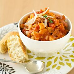 Pasta Fagioli with Sausage  http://www.parents.com/recipes/cooking/easy-dinner/speedy-pasta-dinners/?page=17#