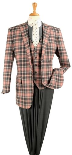 New 3 PC Plaid Fashion Suit with 1 Button, Double Vents, 5 Button Vest, Solid Color Semi Wide Leg Pleat Pants, Super 150 Wool.   www.suitedapointments.com