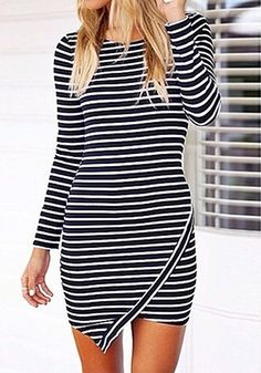 Striped Asymmetric Bodycon Dress | #style