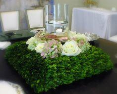 Engagement party boxwood wreath centerpiece