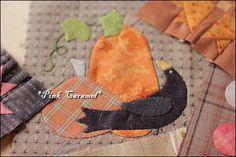 Black bird and kitten and pumpkin: Patchwork * Pink Caramel *... part of Harvest Moon