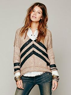 chevron stripe pullover - free people