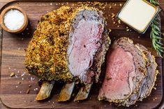Herb-Crusted Rib Roast with Mustard Cream Sauce