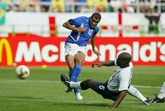 England 1 Brazil 2 in 2002 in Shizuoka. Rivaldo side foots Brazil's leveller on 45 minutes and its 1-1 in the World Cup Quarter Final.