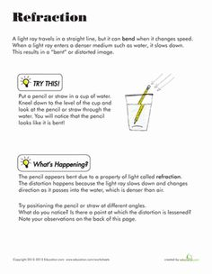 Learn all about light refraction by simply placing your pencil in a glass of water. Warning: your pencil may not be quiet the same afterward.