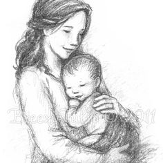 A Mother's Love Art Print by BreezyTulip on Etsy Pencil Art, Pencil Drawings, Art Drawings, Baby Drawing, Painting & Drawing, Figure Drawing, Mothers Day Drawings, Poses References, Mother And Baby