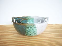 Stoneware Pottery Nesting Bowls