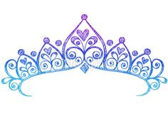 Hand-Drawn Sketchy Princess Tiara Crown Doodle Royalty Free Stock Vector Art Illustration