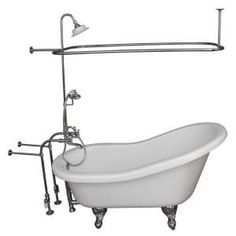 Barclay Products 5.6 ft. Acrylic Ball and Claw Feet Slipper Tub in White with Oil Rubbed Bronze Accessories-TKADTS67-WORB4 - The Home Depot Tub Shower Combo, Shower Rod, Shower Enclosure, Shower Doors, Acrylic Tub, Shower Units, Soaking Bathtubs, Clawfoot Bathtub, Bathtub Drain