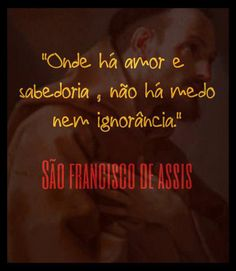 Onde há amor e sabedoria não há medo nem ignorância. São Francisco de Assis.
