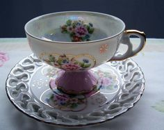 ****Lefton pink and gold teacup and saucer- Free Shipping