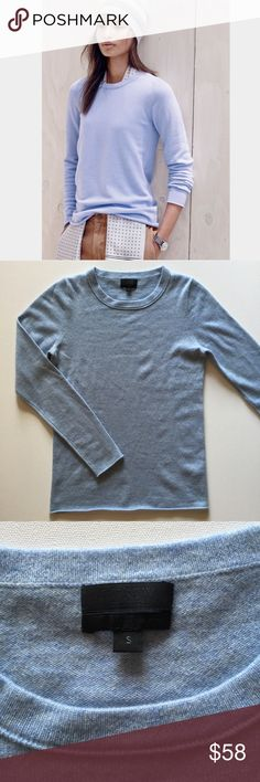 """J. Crew Collection Italian cashmere sweater-small J. Crew Italian cashmere long-sleeve sweater - size small. Color is a gorgeous dark sky blue. Measurements: Bust: 16.5"""". Length: 24"""". All approximate. Excellent condition. J. Crew Sweaters"""