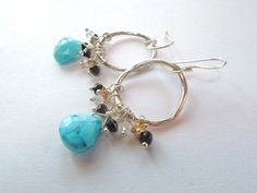 Turquoise, Black Spinel, Andalusite, Sterling Silver Hoop Earrings – Beth Lerner Jewelry http://bethlernerjewelry.com/collections/frontpage/products/turquoise-black-spinel-andalusite-sterling-silver-hoop-earrings