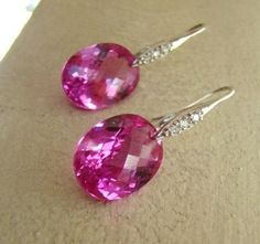 Luxury Pink Topaz Pave Silver Earrings by VeraidaGifts on Etsy, $94.00