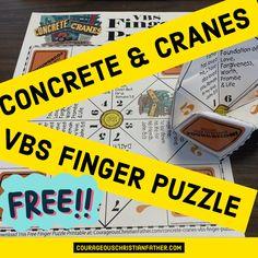 Concrete & Cranes VBS Finger Puzzle - Here is a FREE VBS Printable for the Lifeway's Concrete & Crane VBS. #ConreteCranes #VBSPrintable #FingerPuzzle Bible Verse Crafts, Bible Verses, Vbs Crafts, Crafts For Boys, Construction Theme, Vacation Bible School, Crane, Concrete, Finger