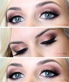 Rose Gold Light Smokey Eye With Black Liner