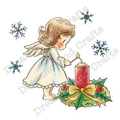 Dreamerland Crafts Cling Stamp - Lighting The Candle Christmas Hanukkah, Christmas Cards, Scrapbook Quotes, Angel Pictures, Free Digital Scrapbooking, Christmas Characters, Christmas Drawing, Scrapbook Supplies, Clear Stamps