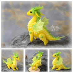 Mini Dragon - Yellow by dallia-art Dragon with movable legs and wings. Height - 4cm Length - 4.5 cm. Colored polymer clay, no paint.