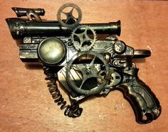 Our latest piece is a clockwork kinetic conversion steampunk lightning Gun. The cogs turn to generate electrical energy, which can be seen in the gage, and the piece shoots a jet of powerful electrical rays. (This is of course an ornimental toy gun, constructed and painted by hand. The cogs do not move but it can still fire discs which are not included). Here is the direct ebay link to the gun... http://www.ebay.co.uk/itm/111711623460?ssPageName=STRK:MESELX:IT&_trksid=p3984.m1555.l2649
