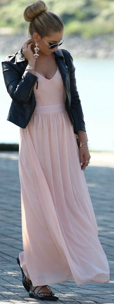 Pastel Pink Maxi Dress Outfit Inspo by Style and Blog