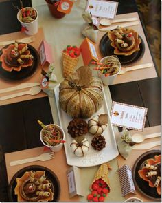 cute kids Thanksgiving table
