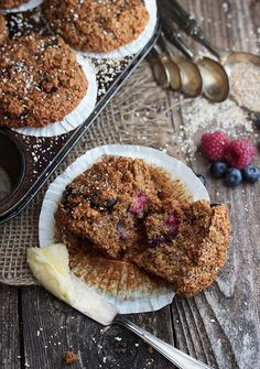 Mixed Berry Bran Muffins - full of fibre from wheat and oat bran and whole wheat flour and loaded with fresh blueberries and raspberries.