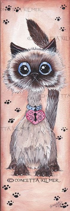 The Happy Himalayan  Cute Kitten   Cat Art  by concettasdesigns, $12.00