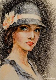 Art Deco Paintings, African Art Paintings, Woman Painting, Painting & Drawing, Pastel Portraits, Color Pencil Art, Pastel Art, People Art, Art Drawings Sketches