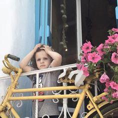 #yellowbike #pinkflowers #happychild #islandlife