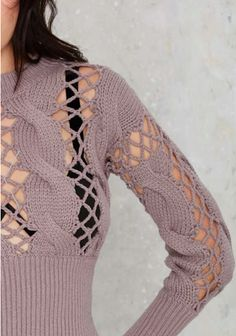 Open Lace Cable Knit Sweater