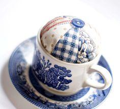 Willow Pattern teacup pincushion