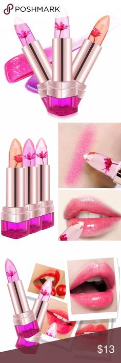 Color Changing Flower Lipstick This gorgeous lipstick not only looks great but it looks amazing when you put it on too. It adds subtle pop of pink that perfectly suits your skin tone. This tinted lipgloss changes tints according to your body temperature. This lipstick is an orange jelly with a beautiful flower inside. Makeup Lipstick