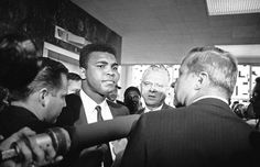 """Houston — Muhammad Ali with his attorney Hayden Covington, right, on June 19, 1967, at the federal courthouse in Houston, where Ali was tried for draft evasion after he refused to be inducted into the armed services. """"I ain't got no quarrel with them Viet Cong,"""" Ali famously said."""