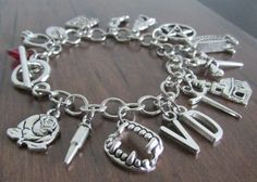 The Vampire Diaries Charm Bracelet, Stefan Damon Elena, Bonnie Alaric Jeremy, The Originals, Mystic Falls, Vampires Witches Werewolves