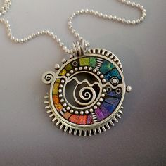 Sterling silver pendant necklace with rainbow iridescent mosaic inlay polymer clay sterling bead chain by LizardsJewelry on Etsy