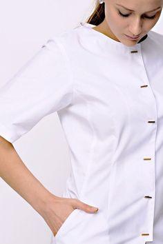spa tunic, tunic, white tunic, spa fashion, White Tunic, Clinic, Chef Jackets, Spa, Fashion, Moda, White Peplum, Fashion Styles, White Tunic Tops
