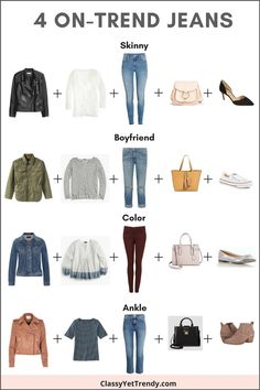 See these 4 on-trend jeans with outfit ideas! Four jeans are on-trend this year and looks like they will stick around for quite a while longer: Skinny, Boyfriend, Ankle and Colored Denim.  Wear them with a white tee, striped top, peplum top, faux leather jacket, utility jacket, denim jacket, pumps heels, sneakers, flats and ankle boots booties.