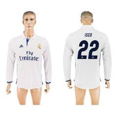 Real Madrid 16-17 Isco 22 Hjemmedrakt Langermet.  http://www.fotballpanett.com/real-madrid-16-17-isco-22-hjemmedrakt-langermet.  #fotballdrakter