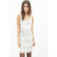 Love 21 Women's  Contemporary Sequin-Embellished Dress ($35) ❤ liked on Polyvore featuring dresses, sleeveless cocktail dress, sequin dresses, white rhinestone dress, white sparkly dress and embellished cocktail dress