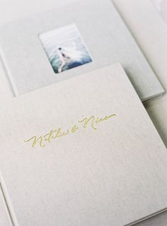 Hand Lettered Gold Foil Embossed Cover & 3x4 Photo Front | 9x10 Size in Natural Linen | HEIRLOOM BINDERY Fine Art Wedding Albums | Albums for Film Shooters | Hand Bound | Photo Rag