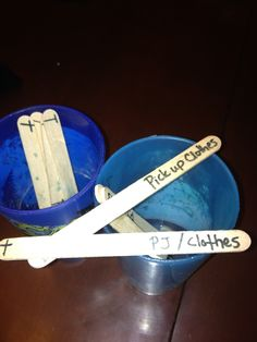 Chores done in a POP!  Write chores on Popsicle sticks. Each night after dinner have one kid pull from the chore cup (take turns each day) once the chore is completed put the chore back or put in another cup. I have two free days in there also. This is also a good bedtime routine. Make 3-5 tasks to be completed pour out the task and put the stick back once completed. I made 3 rules for the chores.  No fighting, if its not done no free time, if you don't like any of these go sit on your bed